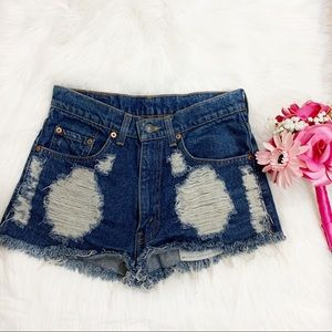 Levi's 515 High Rise Distressed Shorts Size 8